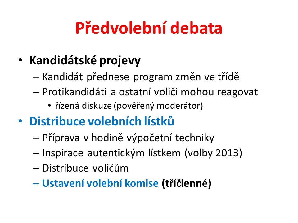 Předvolební debata Kandidátské projevy – Kandidát přednese program změn ve třídě – Protikandidáti a ostatní voliči mohou reagovat řízená diskuze (pověřený moderátor) Distribuce volebních lístků – Příprava v hodině výpočetní techniky – Inspirace autentickým lístkem (volby 2013) – Distribuce voličům – Ustavení volební komise (tříčlenné)