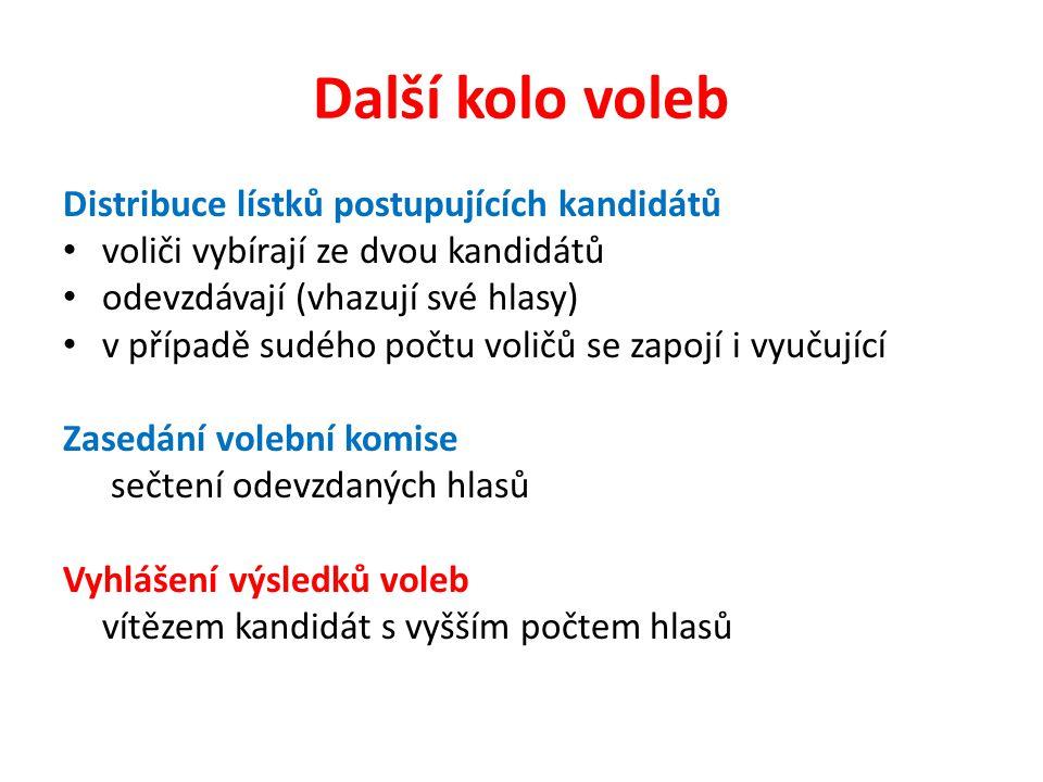 Další kolo voleb Distribuce lístků postupujících kandidátů voliči vybírají ze dvou kandidátů odevzdávají (vhazují své hlasy) v případě sudého počtu voličů se zapojí i vyučující Zasedání volební komise sečtení odevzdaných hlasů Vyhlášení výsledků voleb vítězem kandidát s vyšším počtem hlasů