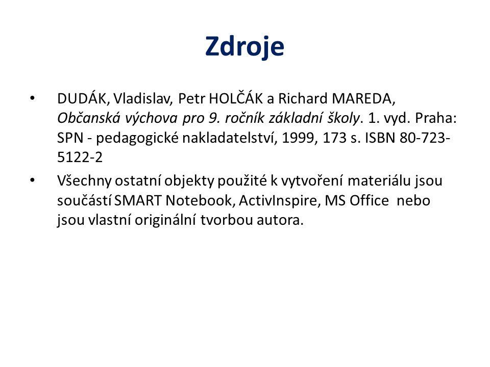 Zdroje DUDÁK, Vladislav, Petr HOLČÁK a Richard MAREDA, Občanská výchova pro 9.