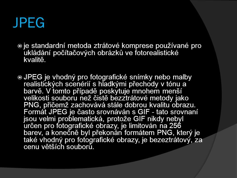 JPEG  je standardní metoda ztrátové komprese používané pro ukládání počítačových obrázků ve fotorealistické kvalitě.  JPEG je vhodný pro fotografick