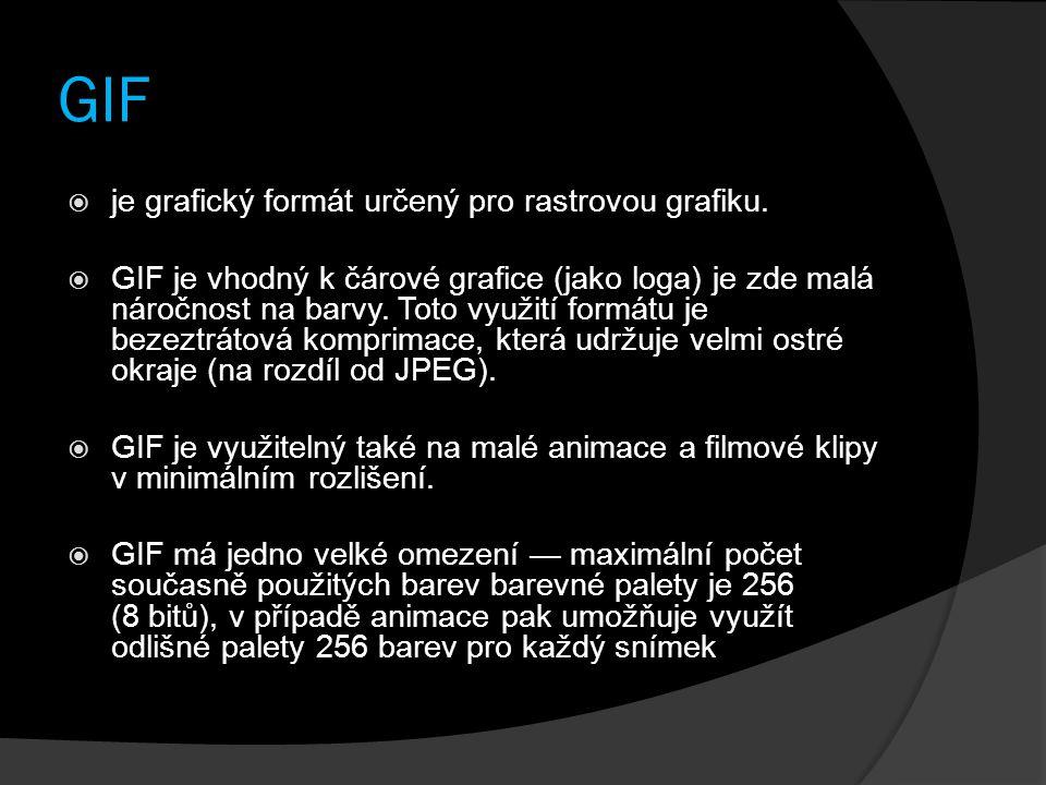 GIF  je grafický formát určený pro rastrovou grafiku.  GIF je vhodný k čárové grafice (jako loga) je zde malá náročnost na barvy. Toto využití formá