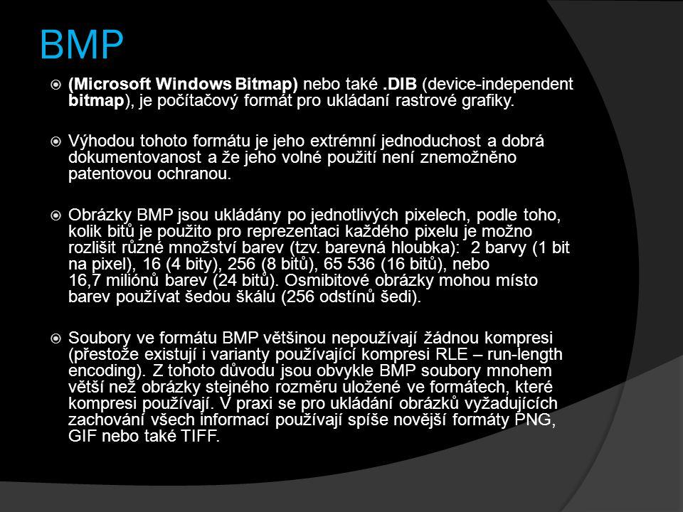 BMP  (Microsoft Windows Bitmap) nebo také.DIB (device-independent bitmap), je počítačový formát pro ukládaní rastrové grafiky.  Výhodou tohoto formá