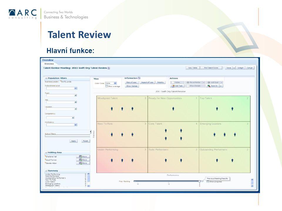 Talent Review Hlavní funkce: Identifikovat skrytě talenty s využitím interaktivního dashbordu Dělat lepší organizační rozhodnutí s využitím integrovaného nástroje pro srovnávání profilů Snadně spravovat a plánovat proces revize talentů Dělat makro analýzy přes seskupování dat, filtrování Vytvářet úkoly, poznámky Přiřazovat cíle