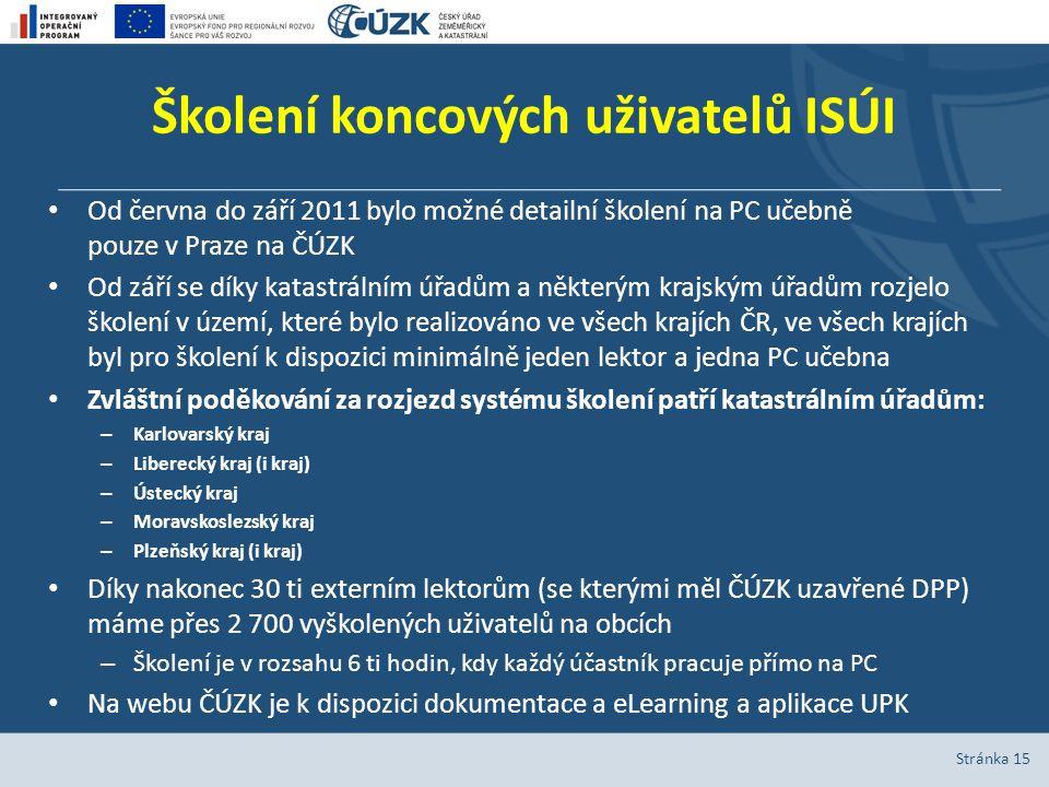 Školení koncových uživatelů ISÚI Od června do září 2011 bylo možné detailní školení na PC učebně pouze v Praze na ČÚZK Od září se díky katastrálním úř
