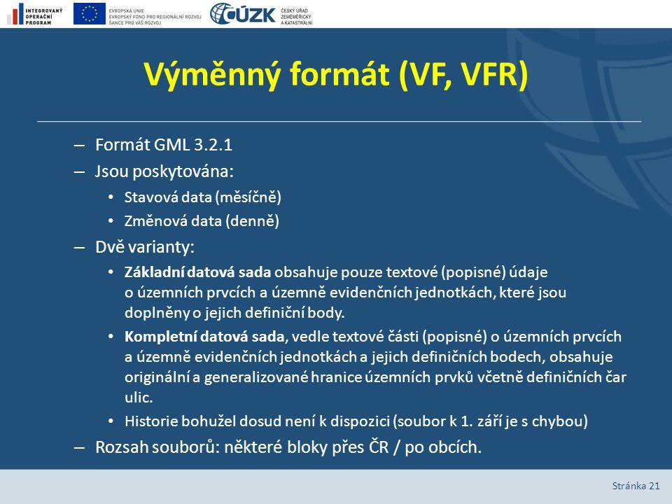 Výměnný formát (VF, VFR) – Formát GML 3.2.1 – Jsou poskytována: Stavová data (měsíčně) Změnová data (denně) – Dvě varianty: Základní datová sada obsah