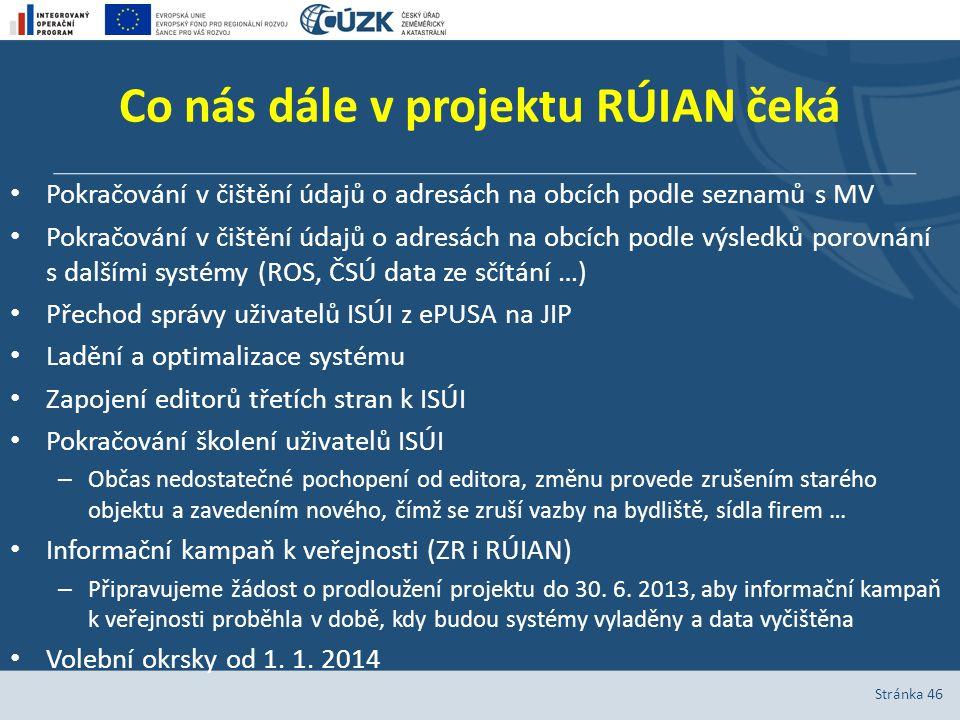 Co nás dále v projektu RÚIAN čeká Pokračování v čištění údajů o adresách na obcích podle seznamů s MV Pokračování v čištění údajů o adresách na obcích
