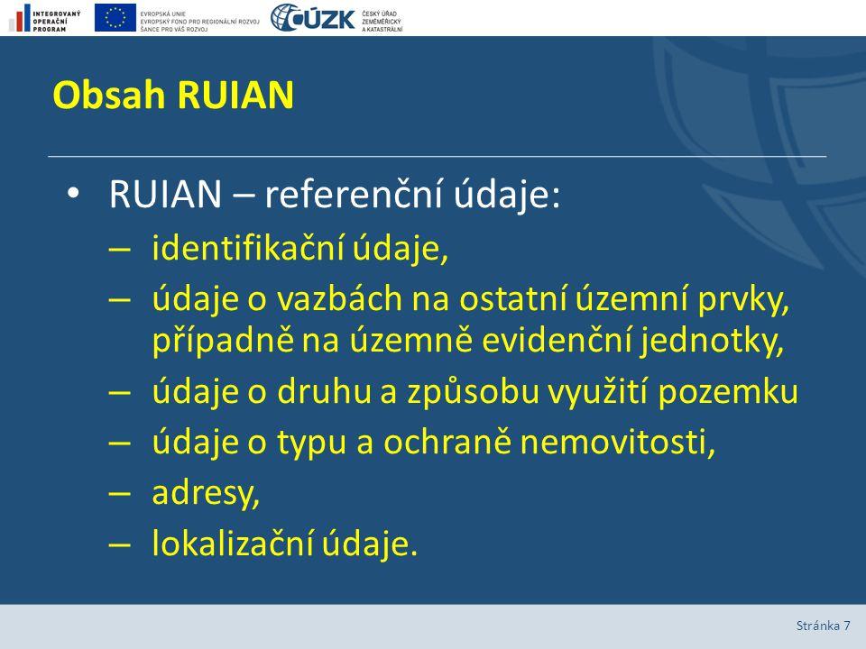 Obsah RUIAN Stránka 7 RUIAN – referenční údaje: – identifikační údaje, – údaje o vazbách na ostatní územní prvky, případně na územně evidenční jednotk