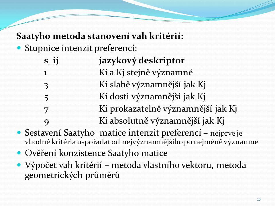 Saatyho metoda stanovení vah kritérií: Stupnice intenzit preferencí: s_ijjazykový deskriptor 1Ki a Kj stejně významné 3Ki slabě významnější jak Kj 5Ki