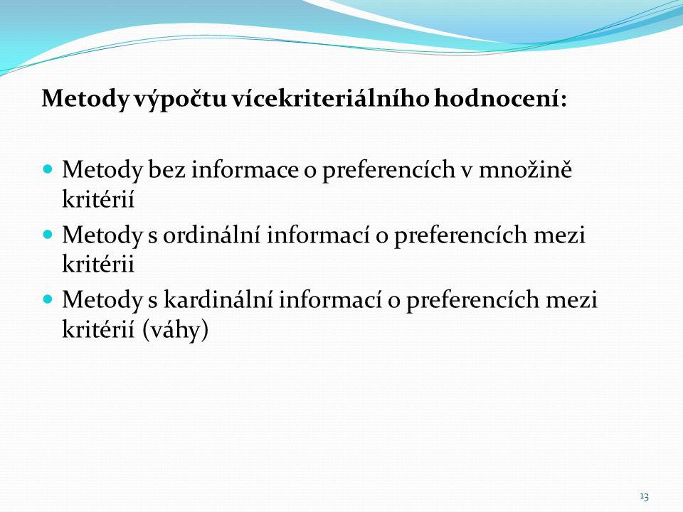 Metody výpočtu vícekriteriálního hodnocení: Metody bez informace o preferencích v množině kritérií Metody s ordinální informací o preferencích mezi kr