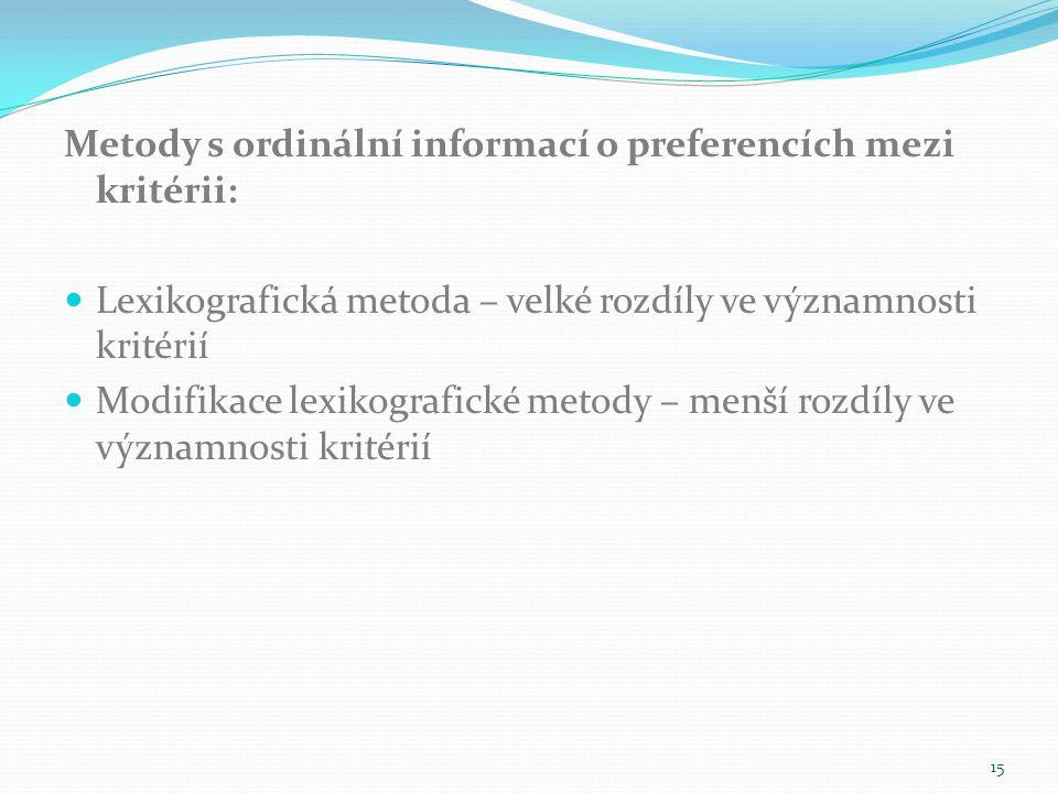 Metody s ordinální informací o preferencích mezi kritérii: Lexikografická metoda – velké rozdíly ve významnosti kritérií Modifikace lexikografické met