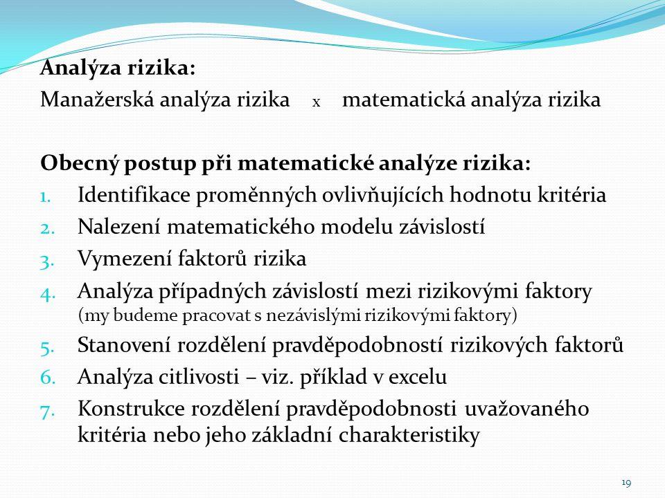 Analýza rizika: Manažerská analýza rizika x matematická analýza rizika Obecný postup při matematické analýze rizika: 1. Identifikace proměnných ovlivň