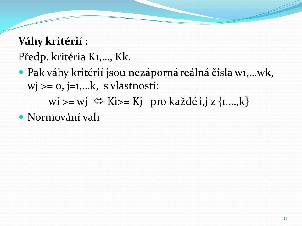 Váhy kritérií : Předp. kritéria K1,…, Kk. Pak váhy kritérií jsou nezáporná reálná čísla w1,…wk, wj >= 0, j=1,…k, s vlastností: wi >= wj  Ki>= Kj pro