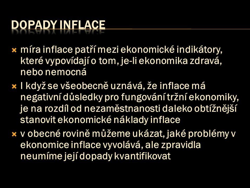  míra inflace patří mezi ekonomické indikátory, které vypovídají o tom, je-li ekonomika zdravá, nebo nemocná  I když se všeobecně uznává, že inflace