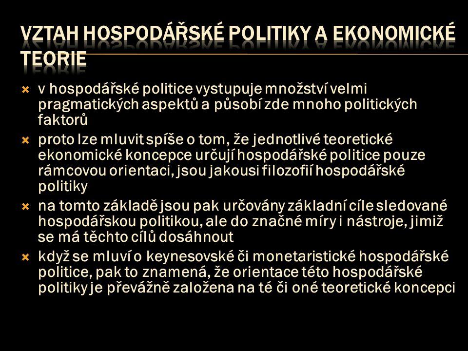  v hospodářské politice vystupuje množství velmi pragmatických aspektů a působí zde mnoho politických faktorů  proto lze mluvit spíše o tom, že jednotlivé teoretické ekonomické koncepce určují hospodářské politice pouze rámcovou orientaci, jsou jakousi filozofií hospodářské politiky  na tomto základě jsou pak určovány základní cíle sledované hospodářskou politikou, ale do značné míry i nástroje, jimiž se má těchto cílů dosáhnout  když se mluví o keynesovské či monetaristické hospodářské politice, pak to znamená, že orientace této hospodářské politiky je převážně založena na té či oné teoretické koncepci