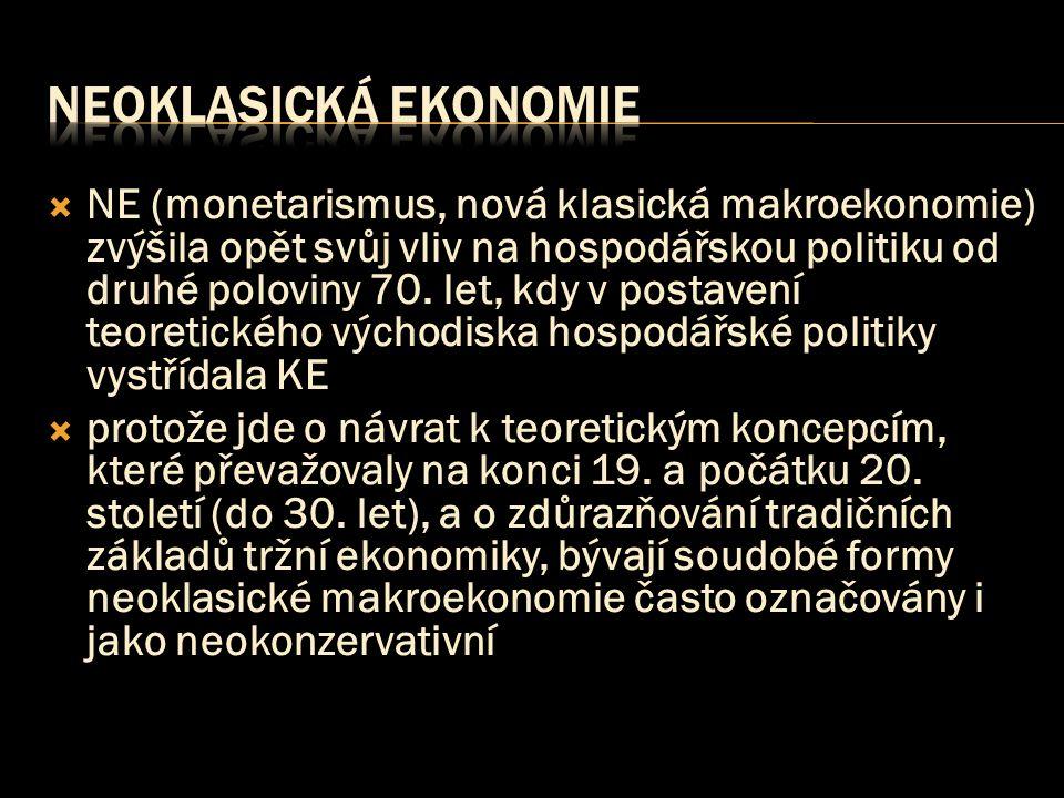  NE (monetarismus, nová klasická makroekonomie) zvýšila opět svůj vliv na hospodářskou politiku od druhé poloviny 70. let, kdy v postavení teoretické