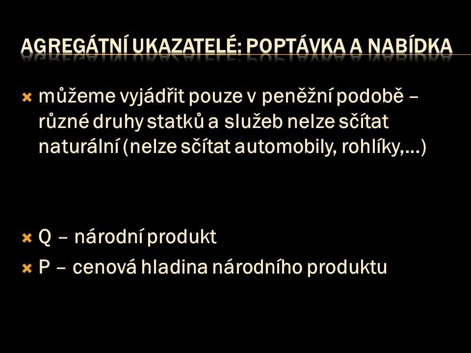  můžeme vyjádřit pouze v peněžní podobě – různé druhy statků a služeb nelze sčítat naturální (nelze sčítat automobily, rohlíky,...)  Q – národní produkt  P – cenová hladina národního produktu