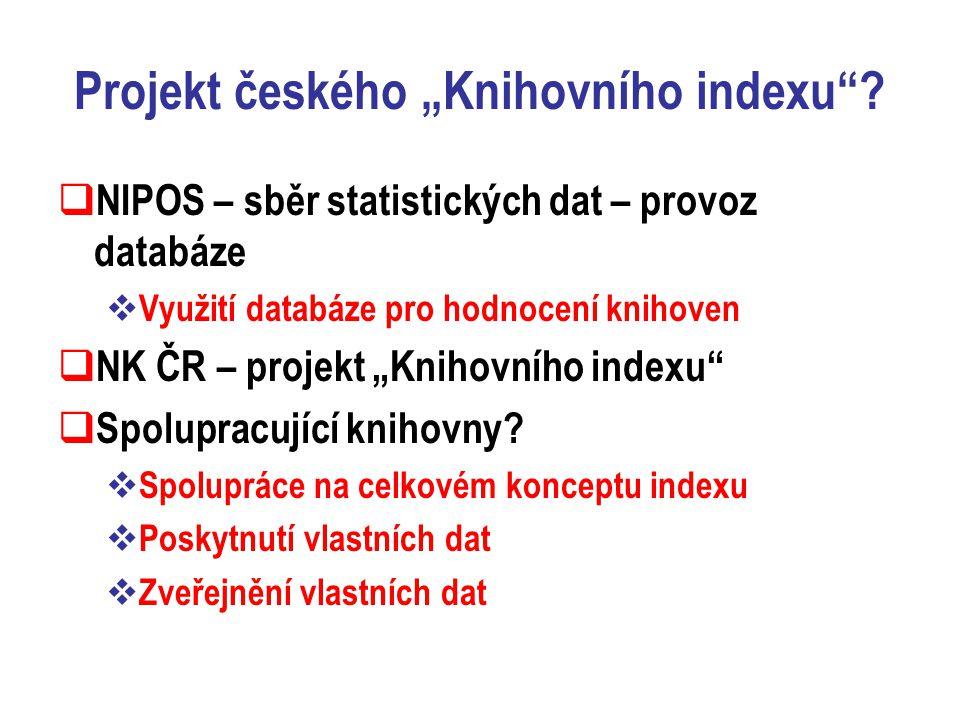 """Projekt českého """"Knihovního indexu ."""
