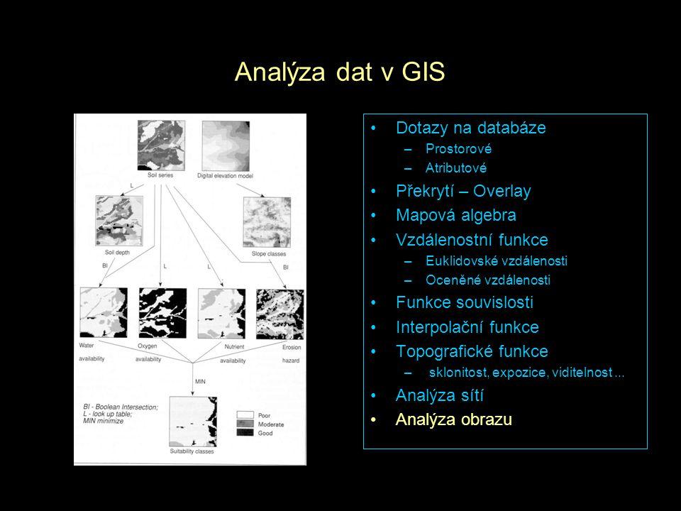 Analýza dat v GIS Dotazy na databáze –Prostorové –Atributové Překrytí – Overlay Mapová algebra Vzdálenostní funkce –Euklidovské vzdálenosti –Oceněné v