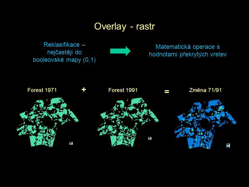 Overlay - rastr Reklasifikace – nejčastěji do booleovské mapy (0,1) Matematická operace s hodnotami překrytých vrstev Forest 1971Forest 1991Změna 71/9