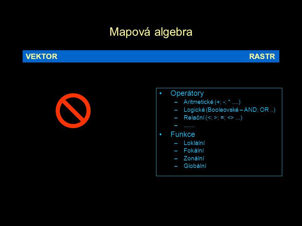 Mapová algebra Operátory –Aritmetické (+; -; *....) –Logické (Booleovské – AND; OR..) –Relační ( ; =; <>...) –....... Funkce –Loklální –Fokální –Zonál