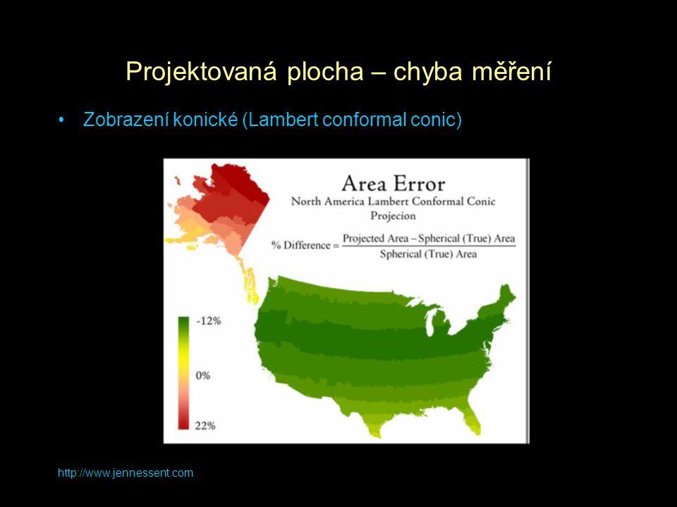 http://www.jennessent.com Projektovaná plocha – chyba měření Zobrazení konické (Lambert conformal conic)