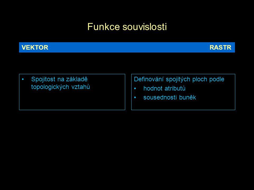 Funkce souvislosti Spojitost na základě topologických vztahů Definování spojitých ploch podle hodnot atributů sousednosti buněk VEKTORRASTR