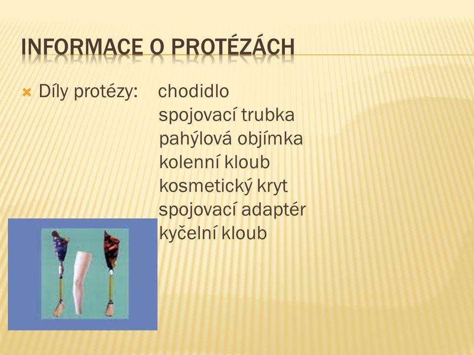  Díly protézy: chodidlo spojovací trubka pahýlová objímka kolenní kloub kosmetický kryt spojovací adaptér kyčelní kloub