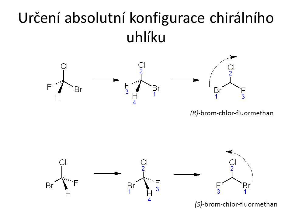 Určení absolutní konfigurace chirálního uhlíku (R)-brom-chlor-fluormethan (S)-brom-chlor-fluormethan