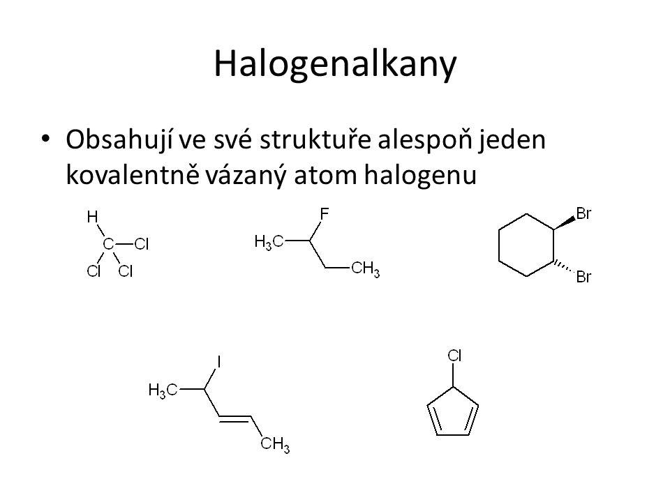 Důsledky S N 1 – mechanismu Polární rozpouštědla urychlují reakci:  Stejně jako voda rozpouští NaCl tím, že obalí ionty svými molekulami, tak i zde se obalují vznikající ionty molekulami rozpouštědla (vody, ethanolu, methanolu, atd.) a mohou se tak od sebe vzdálit, navíc je vrstva rozpouštědla (solvatační obal) stabilizuje Vliv struktury substrátu:  Jelikož primární karbkationty jsou, podobně jako primární radikály nestabilní, mohou tímto mechanismem reagovat pouze sekundární a terciární halogenalkany!!.
