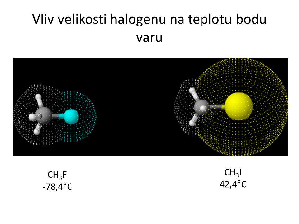 Vliv velikosti halogenu na teplotu bodu varu CH 3 F -78,4°C CH 3 I 42,4°C