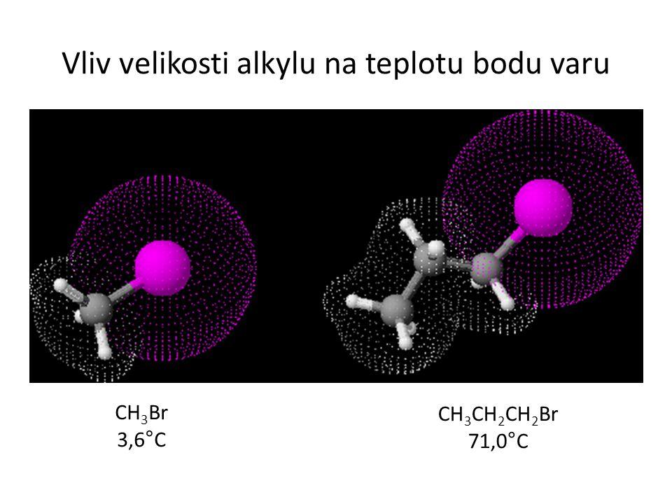 Vliv velikosti alkylu na teplotu bodu varu CH 3 Br 3,6°C CH 3 CH 2 CH 2 Br 71,0°C