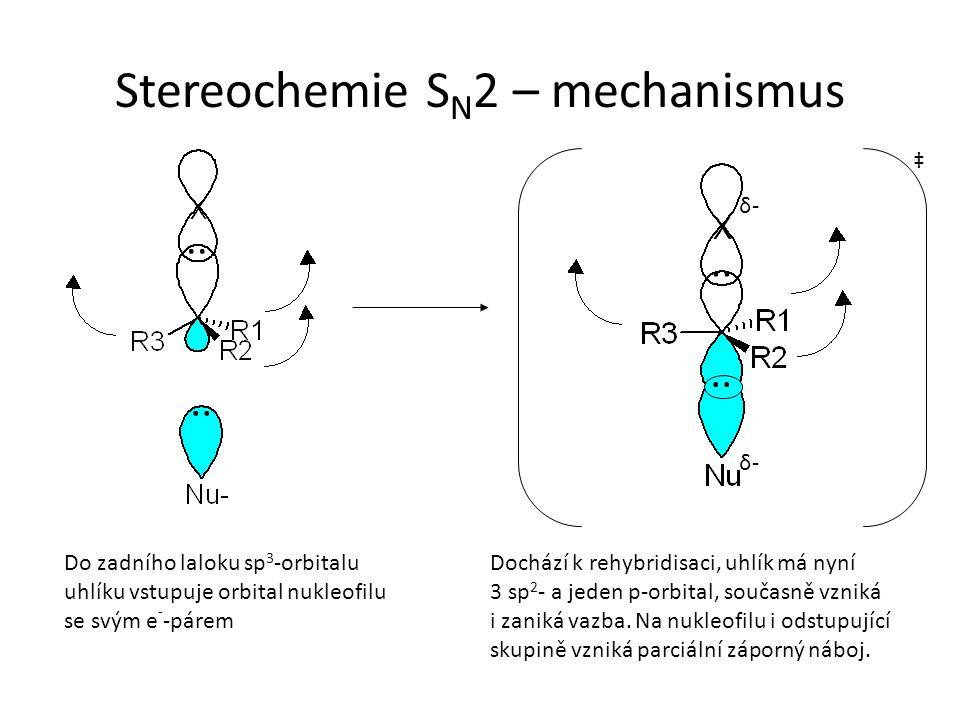 Stereochemie S N 2 – mechanismus.. ‡ Do zadního laloku sp 3 -orbitalu uhlíku vstupuje orbital nukleofilu se svým e - -párem.. δ-δ- δ-δ- Dochází k rehy