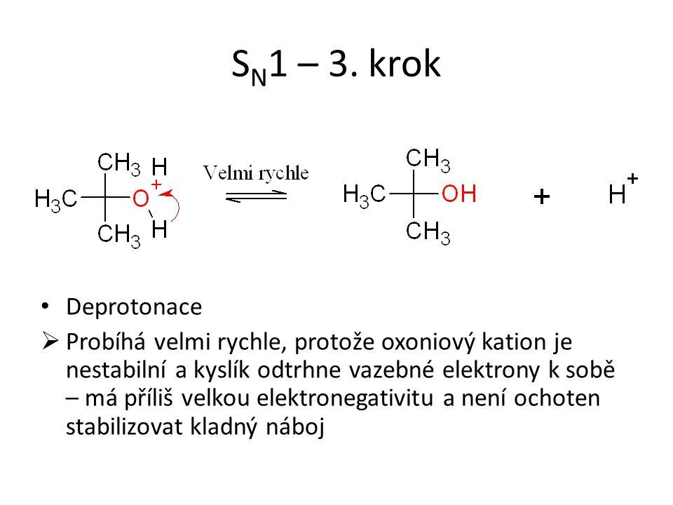 S N 1 – 3. krok Deprotonace  Probíhá velmi rychle, protože oxoniový kation je nestabilní a kyslík odtrhne vazebné elektrony k sobě – má příliš velkou