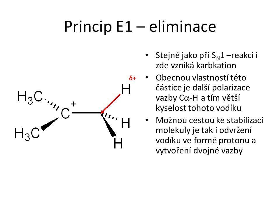 Princip E1 – eliminace Stejně jako při S N 1 –reakci i zde vzniká karbkation Obecnou vlastností této částice je další polarizace vazby C  -H a tím větší kyselost tohoto vodíku Možnou cestou ke stabilizaci molekuly je tak i odvržení vodíku ve formě protonu a vytvoření dvojné vazby δ+δ+