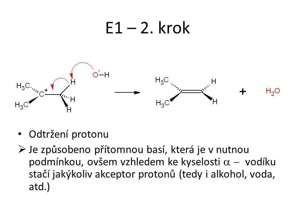 E1 – 2. krok Odtržení protonu  Je způsobeno přítomnou basí, která je v nutnou podmínkou, ovšem vzhledem ke kyselosti  vodíku stačí jakýkoliv akce