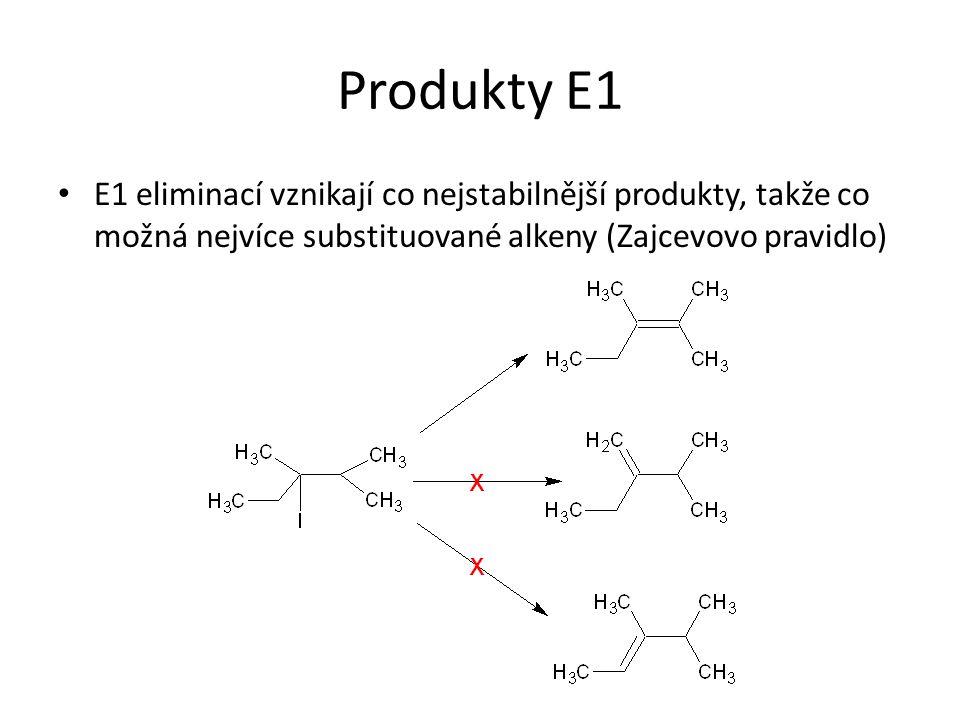 Produkty E1 E1 eliminací vznikají co nejstabilnější produkty, takže co možná nejvíce substituované alkeny (Zajcevovo pravidlo)
