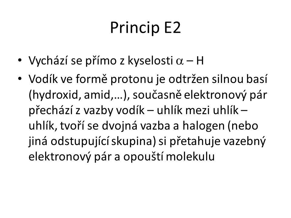 Princip E2 Vychází se přímo z kyselosti  – H Vodík ve formě protonu je odtržen silnou basí (hydroxid, amid,…), současně elektronový pár přechází z vazby vodík – uhlík mezi uhlík – uhlík, tvoří se dvojná vazba a halogen (nebo jiná odstupující skupina) si přetahuje vazebný elektronový pár a opouští molekulu