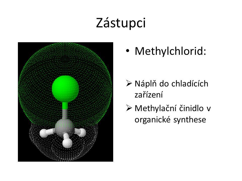Zástupci Methylchlorid:  Náplň do chladících zařízení  Methylační činidlo v organické synthese