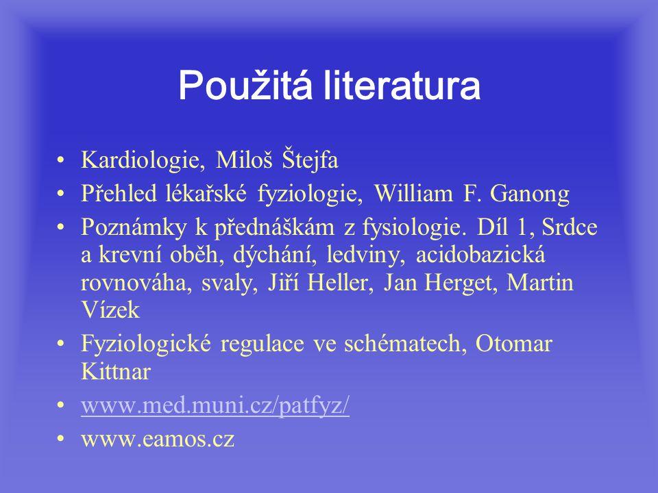 Použitá literatura Kardiologie, Miloš Štejfa Přehled lékařské fyziologie, William F.