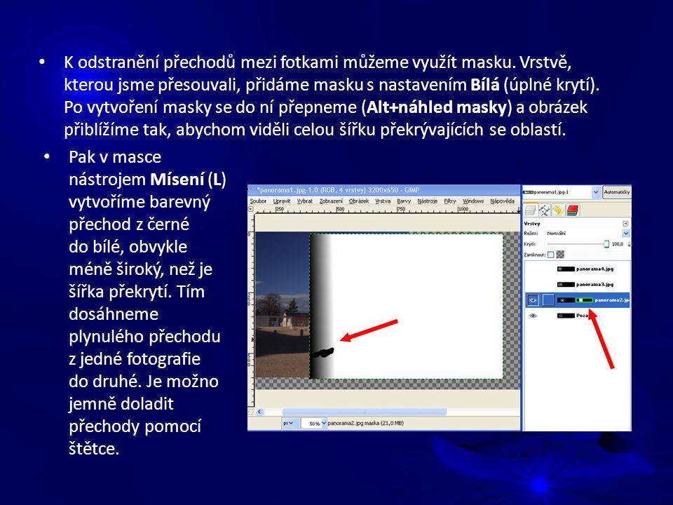 K odstranění přechodů mezi fotkami můžeme využít masku.