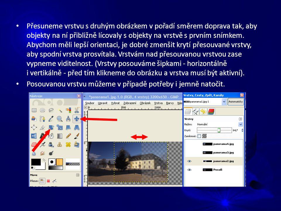Přesuneme vrstvu s druhým obrázkem v pořadí směrem doprava tak, aby objekty na ní přibližně lícovaly s objekty na vrstvě s prvním snímkem.
