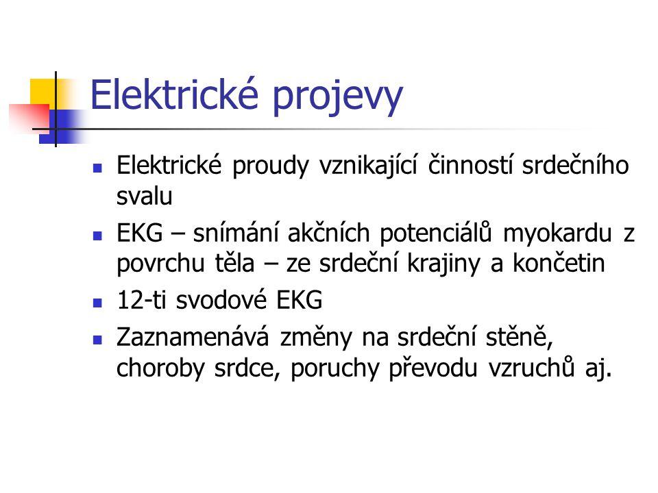 Elektrické projevy Elektrické proudy vznikající činností srdečního svalu EKG – snímání akčních potenciálů myokardu z povrchu těla – ze srdeční krajiny