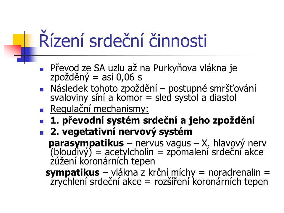 Řízení srdeční činnosti Převod ze SA uzlu až na Purkyňova vlákna je zpožděný = asi 0,06 s Následek tohoto zpoždění – postupné smršťování svaloviny síní a komor = sled systol a diastol Regulační mechanismy: 1.