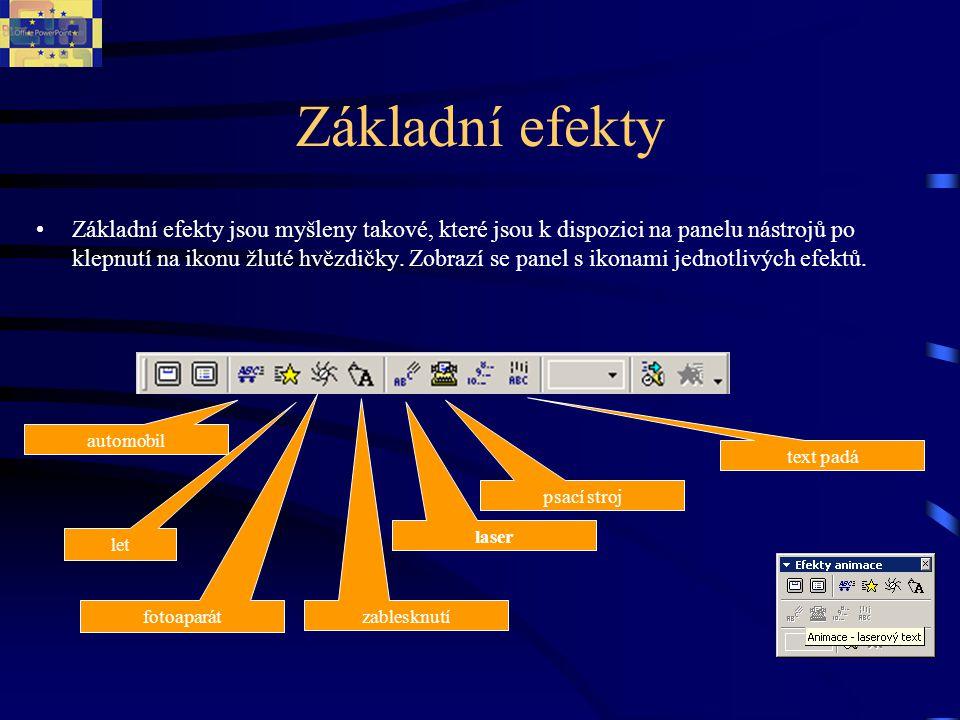 Seznam efektů programu PowerPoint Druh animaceRozšíření možnostiStručný popis animace ObříznoutDoleva dolů Doleva nahoru Doprava dolů Doprava nahoru Z