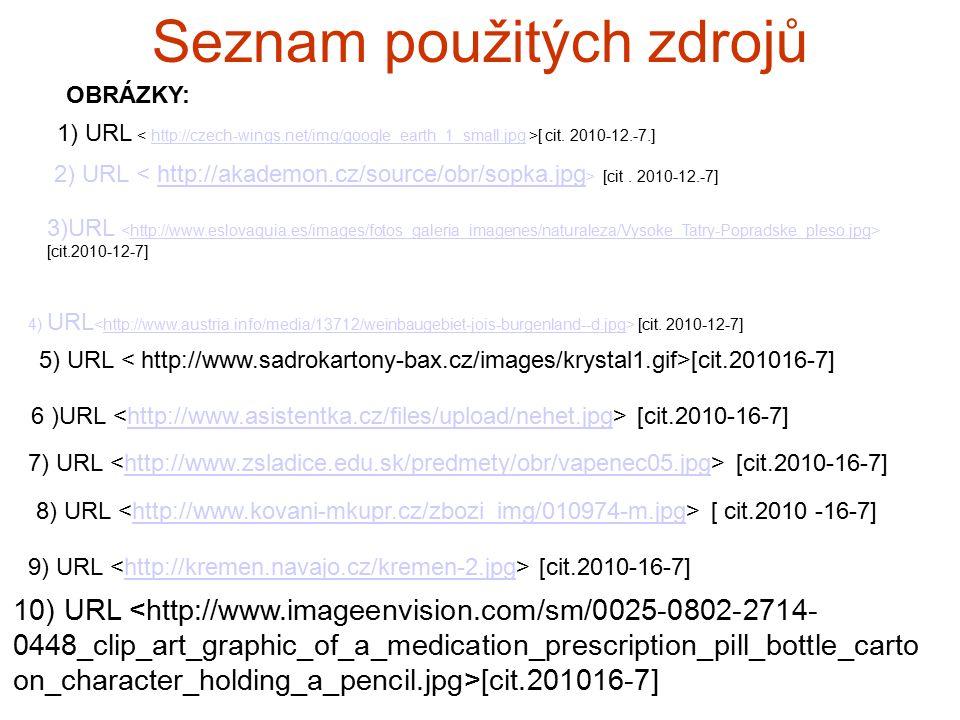 Seznam použitých zdrojů 2) URL [cit. 2010-12.-7]http://akademon.cz/source/obr/sopka.jpg 3)URL [cit.2010-12-7]http://www.eslovaquia.es/images/fotos_gal