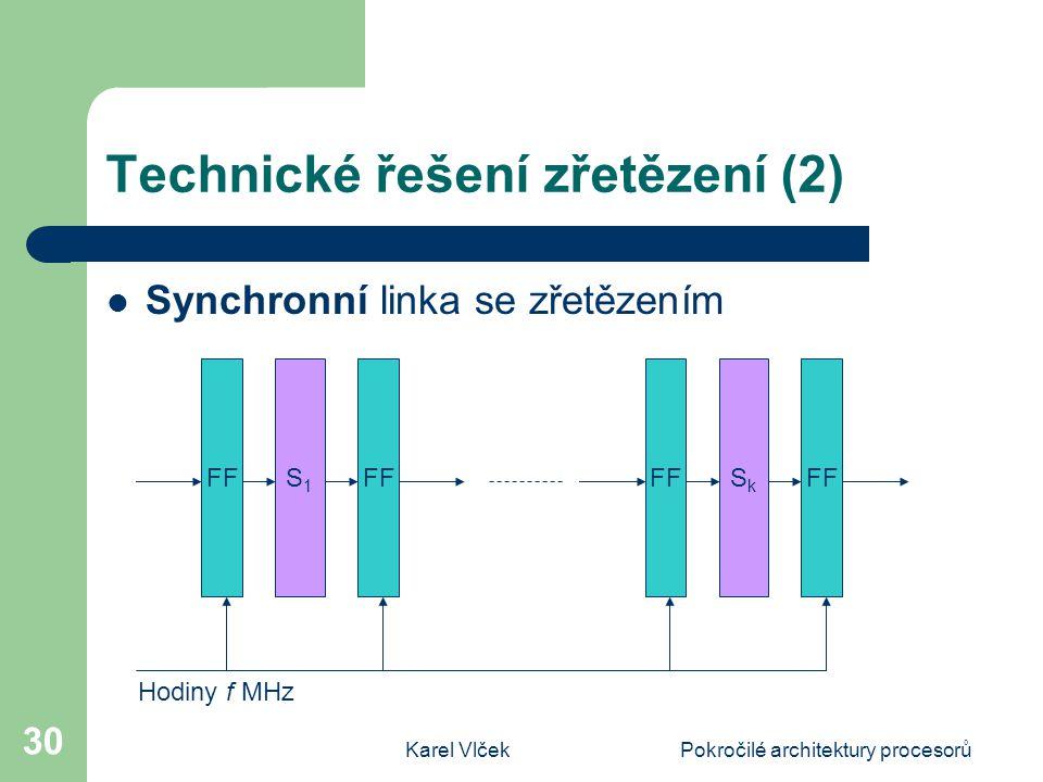 Karel VlčekPokročilé architektury procesorů 30 Technické řešení zřetězení (2) Synchronní linka se zřetězením FF S1S1 SkSk Hodiny f MHz