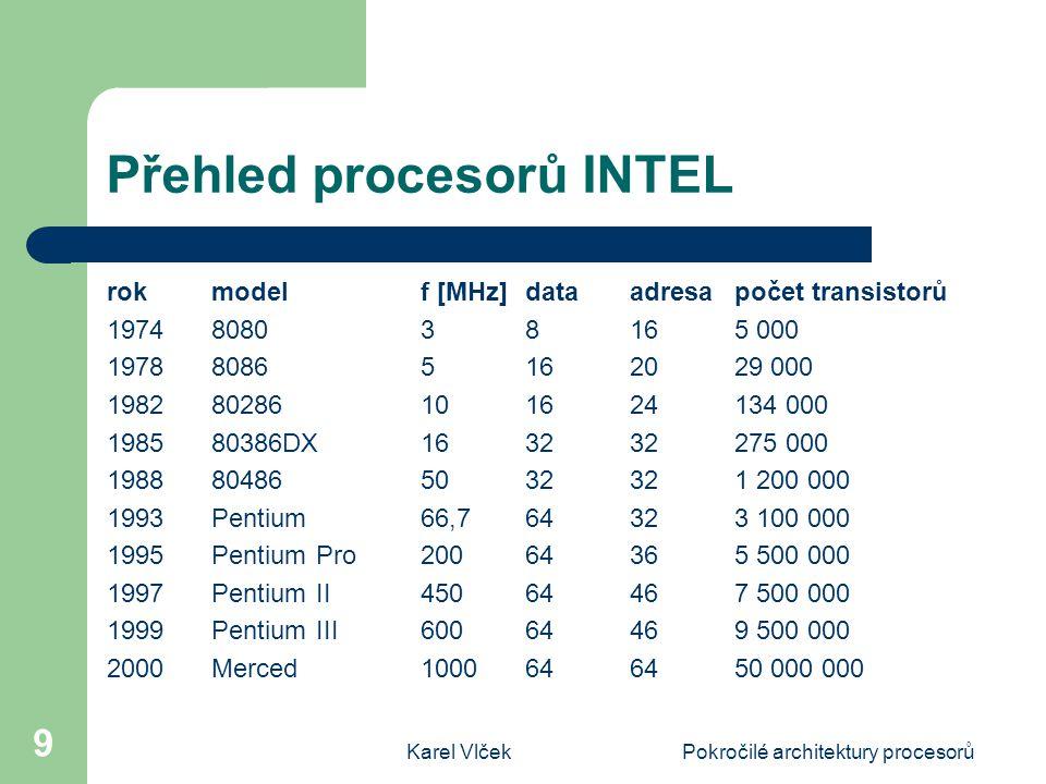 Karel VlčekPokročilé architektury procesorů 9 Přehled procesorů INTEL rok modelf [MHz]data adresapočet transistorů 1974808038 165 000 197880865162029 000 198280286101624134 000 198580386DX163232275 000 1988804865032321 200 000 1993Pentium66,764323 100 000 1995PentiumPro20064365 500 000 1997PentiumII45064467 500 000 1999PentiumIII60064469 500 000 2000Merced1000646450 000 000
