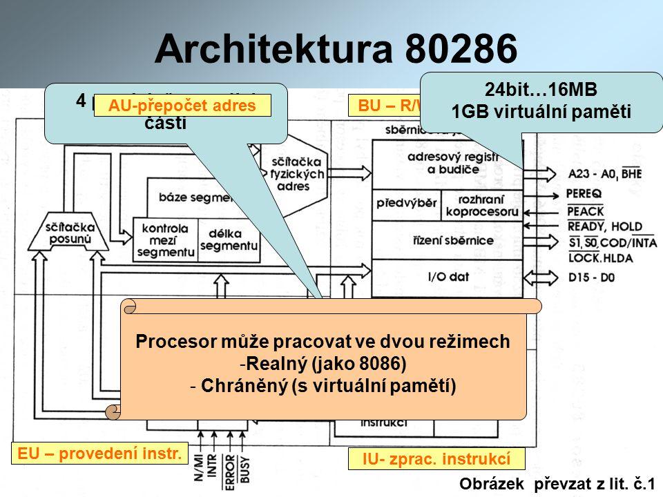 Architektura 80286 4 paralelně pracující části BU – R/W do paměti IU- zprac.