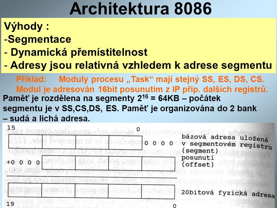 """Architektura 8086 Výhody : -Segmentace - Dynamická přemístitelnost - Adresy jsou relativná vzhledem k adrese segmentu Příklad: Moduly procesu """"Task mají stejný SS, ES, DS, CS."""