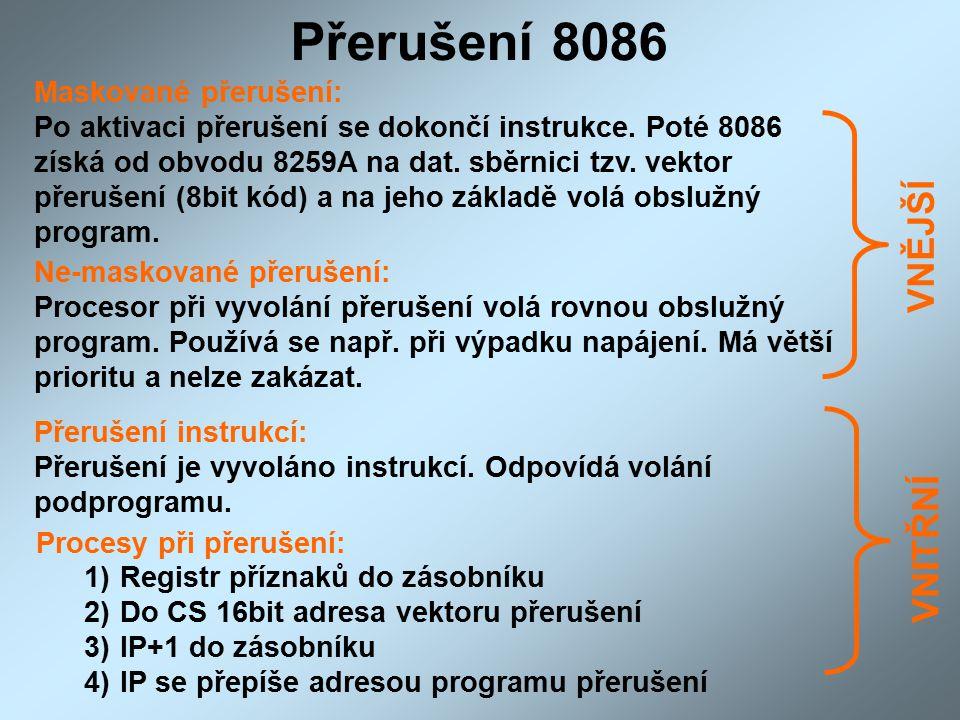 Přerušení 8086 Ne-maskované přerušení: Procesor při vyvolání přerušení volá rovnou obslužný program.